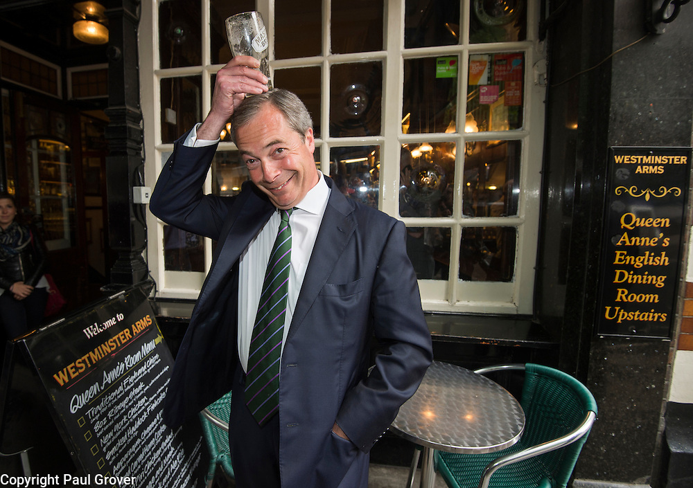 Westminster.Pic Shows UKIP Leader Nigel Farage at the Westminster Arms