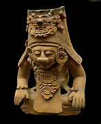Funerary urn of an royal ancestor figure. Circa 200 BC-AD 800, Zapotec. Found entombed in the Zapotec capital, Monte Alban