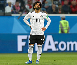June 19, 2018 - Saint Petersburg, Russia - Mohamed Salah of the Egypt national football team reacts during the 2018 FIFA World Cup match, first stage - Group A between Russia and Egypt at Saint Petersburg Stadium on June 19, 2018 in St. Petersburg, Russia. (Credit Image: © Igor Russak/NurPhoto via ZUMA Press)