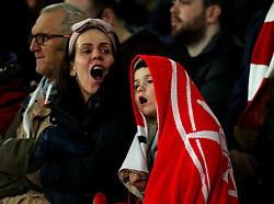 Arsenal fan wrapped up in a Arsenal towel - Mandatory by-line: Robbie Stephenson/JMP - 15/03/2018 - FOOTBALL - Emirates Stadium - London, England - Arsenal v AC Milan - UEFA Europa League Round of 16, Second leg