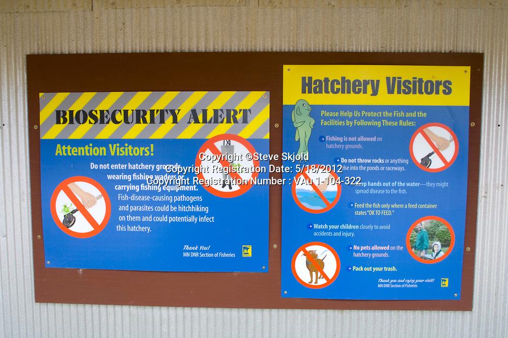 Lanesboro State Fish Hatchery for trout Biosecurity Alert and Visitors rules. Lanesboro Minnesota MN USA