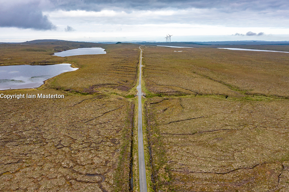 Aerial view form drone of the bleak and desolate Pentland Road crossing moorland on on Isle of Lewis, Outer Hebrides, Scotland, UK