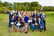 17-05-2015 NGF Competitie 2015, Hoofdklasse Heren - Dames Standaard - Finale, Golfsocieteit De Lage Vuursche, Den Dolder, Nederland. 17 mei. Dames en heren Noordwijkse 1: team tijdens de prijsuitreiking..