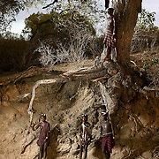 Kala, Daina, Kale and Oita pose for a portrait under the roots of a huge tree on a dry river bed at sunset in the Lower Omo Valley.<br />