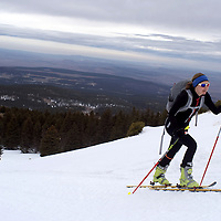 First place women's soloist Michelle Hummel crests Heartbreak Hill in the first skiing leg in the Mount Taylor Winter Quadrathlon in Grants Saturday.