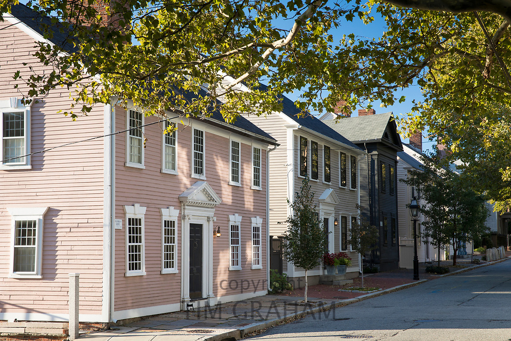 Wooden clapboard elegant period houses on Benefit Street in Providence, Rhode Island, USA