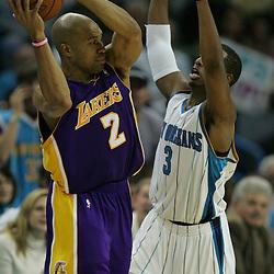 23 December 2008:  New Orleans Hornets guard Chris Paul (3) defends Los Angeles Lakers guard Derek Fisher (2) during a 100-87 loss by the New Orleans Hornets to the Los Angeles Lakers at the New Orleans Arena in New Orleans, LA. .