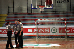 Judges at basketball game Zlatorog Lasko - Krka in in the first match of quarter-final of Spar Cup, on February 7, 2008 in Ljubljana, Slovenia.   (Photo by Vid Ponikvar / Sportal Images).