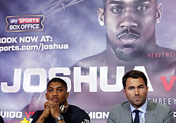 Anthony Joshua and promoter Eddie Hearn during a press conference at Sky Sports Studios, Isleworth.