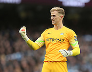 Manchester City's Joe Hart celebrates at the final whistle<br /> <br /> - Barclays Premier League - Manchester City vs Manchester Utd - Etihad Stadium - Manchester - England - 2nd November 2014  - Picture David Klein/Sportimage
