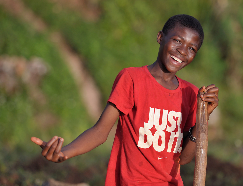 A boy gestures in Mizak, a small village in the south of Haiti.