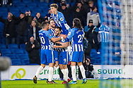 Brighton and Hove Albion (6) Dale Stephens, celebrates after scoring goal during the The FA Cup 3rd round match between Brighton and Hove Albion and Crystal Palace at the American Express Community Stadium, Brighton and Hove, England on 8 January 2018. Photo by Sebastian Frej.