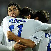 Inter's Ricardo ALVAREZ (C) celebrate his goal with team mate during their UEFA Champions League group stage matchday 5 soccer match Trabzonspor between Inter at the Avni Aker Stadium at Trabzon Turkey on Tuesday, 22 November 2011. Photo by TURKPIX