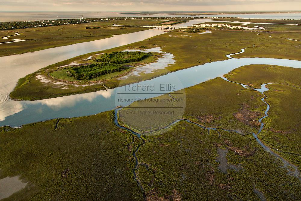 Aerial view of the salt marsh at Sullivan's Island, SC.