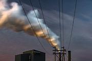 Power poles and smoke stacks, night light, Nippon Paper Industries, Clallam County, Port Angeles, Washington, USA