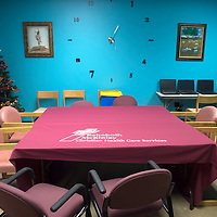 The education room in the Rehoboth McKinley Christian Hospital addiction rehabilitation center is used for meetings as well as GED classes offered through the center.