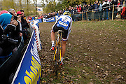 Friday 1 November 2013: Nikki Harris gets close to the spectators on a downhill section of the Koppenbergcross 2013 women's race. Copyright 2013 Peter Horrell