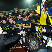 Fenerbahce's players celebrate winning the Turkish soccer Super league championship against Sivasspor in Fenerbahce after their the Turkish soccer super league match Sivasspor between Fenerbahce at 4 Eylul Stadium in Sivas Turkey on  Sunday, 22 May 2011. Fenerbahce won 4-2. Photo by TURKPIX