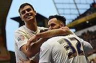 Preston North End defender Adam Reach celebrates goal with team mates during the Sky Bet Championship match between Wolverhampton Wanderers and Preston North End at Molineux, Wolverhampton, England on 13 February 2016. Photo by Alan Franklin.