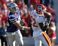 Iowa State free safety Jason Harris (22) intercepts the pass in front of Kansas State tight end Jeron Mastrud (85) in the first half at Bill Snyder Family Stadium in Manhattan, Kansas, October 28, 2006.  The Wildcats beat the Cyclones 31-10.<br />