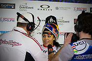 #12 (READE Shanaze) GBR is interviewed after her win at the UCI BMX Supercross World Cup in Manchester, UK