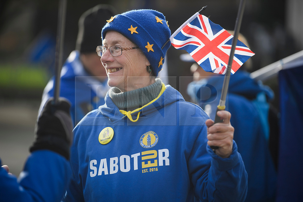 © Licensed to London News Pictures. 14/01/2019. London, UK. A pro EU anti Brexit campaigner outside the Houses of Parliament in London the day before MPs vote of British Prime Minister Theresa May's deal on leaving the EU. Photo credit: Ben Cawthra/LNP