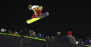 SHOT 1/26/08 6:24:49 PM -  Japanese snowboarder Ryo Aono floats above the spectators on the deck of the superpipe during the Superpipe Elimination Saturday January 26, 2008 at Winter X Games Twelve in Aspen, Co. at Buttermilk Mountain. Aono was the top qualifier for the finals with a score of 92.33 and won the silver medal in the finals with a score of 88.00 losing to Shaun White (96.66). The 12th annual winter action sports competition features athletes from across the globe competing for medals and prize money is skiing, snowboarding and snowmobile. Numerous events were broadcast live and seen in more than 120 countries. The event will remain in Aspen, Co. through 2010..(Photo by Marc Piscotty / © 2008)