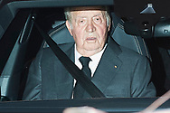 King Juan Carlos of Spain attends Princess PIlar Borbon funeral chapel  installed in the Gomez-Acebo house on January 8, 2020 in Madrid, Spain
