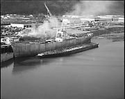 "Ackroyd 13672-2 ""Schnitzer Industires Inc. aerial of new 4000 ton barge. December 24, 1965"""