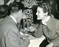 11/30/1944 Ava Gardner chats with Artie Shaw at the Mocambo Nightclub