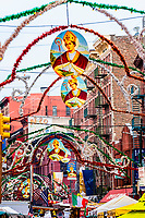 The Feast of San Gennaro on Mulberry Street in Little Italy. The Feast has turned into an 11 day street fair. Lower Manhattan, New York City, NY USA.