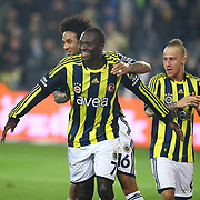 Fenerbahce's Moussa Sow (L) celebrate his goal with team mate during their Turkish superleague soccer derby match Fenerbahce between Besiktas at Sukru Saracaoglu stadium in Istanbul Turkey on Sunday 05 February 2012. Photo by TURKPIX