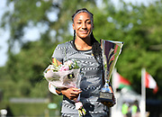 Nafi Thiam aka Nafissatou Thiam (BEL) poses after winning the heptathlon during the DecaStar meeting, Saturday, June 23, 2019, in Talence, France. Thiam won with 6,819 points. (Jiro Mochizuki/Image of Sport via AP)
