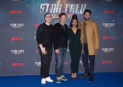 (left to right) Producer Aaron Harberts, Jason Isaacs, Sonequa Martin-Green, and Shazad Latif attend the Star Trek: Discovery special fan screening photocall at Millbank Tower on Sunday, 5th November..Picture dated: Sunday November 5, 2017. Photo credit should read: Isabel Infantes / EMPICS Entertainment.