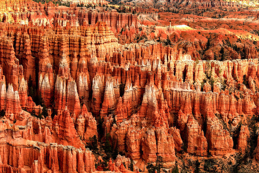 Geologic Chaos: A spectacular view from Inspiration Point is of a veritable sea of coloured striated hoodoos, a foreign or unworldly sight, Bryce National Park, Utah, USA.