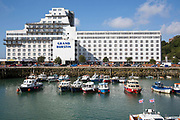 The Grand Burstin Hotel, situated on the edge of the harbour,  Folkestone Kent.  Owned and managed by the Britannia Hotels group.