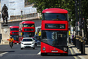 London, England, the United Kingdom, July 15, 2021: General views show public transport in central London on Thursday, July 15, 2021. England prepares to lift all covid restrictions from 19th July amid different approaches to mask-wearing from local governments to private companies. The UK recorded more than 50.000 covid cases this week, the highest daily number in months. (VX Photo/ Vudi Xhymshiti)