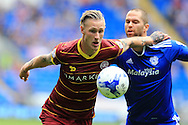Sebastian Polter of Queens Park Rangers is challenged by Matthew Connolly of Cardiff city (r). EFL Skybet championship match, Cardiff city v Queens Park Rangers at the Cardiff city stadium in Cardiff, South Wales on Sunday 14th August 2016.<br /> pic by Andrew Orchard, Andrew Orchard sports photography.