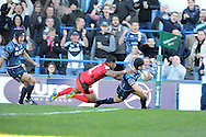 Leigh Halfpenny of the Cardiff Blues dives over for the opening try. Heineken cup, pool 6 match, Cardiff Blues v Toulon at Cardiff Arms Park in Cardiff, South Wales on Sunday 21st October 2012. pic by Andrew Orchard, Andrew Orchard sports photography,