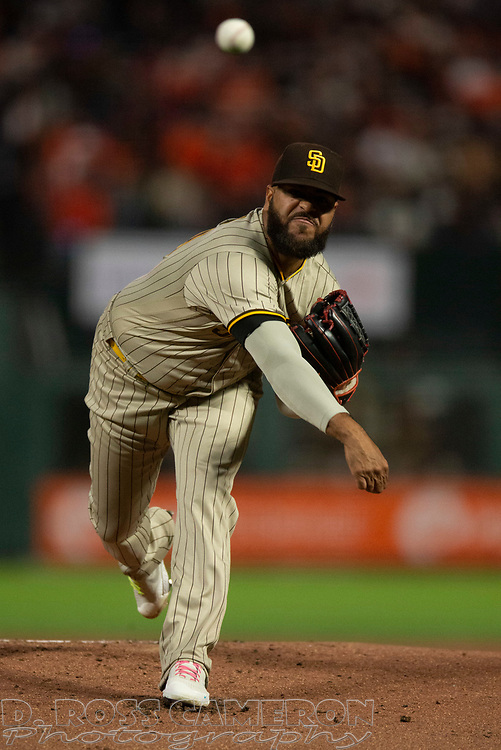 Oct 1, 2021; San Francisco, California, USA; San Diego Padres starting pitcher Pedro Avila (60) delivers a pitch against the San Francisco Giants during the first inning at Oracle Park. Mandatory Credit: D. Ross Cameron-USA TODAY Sports