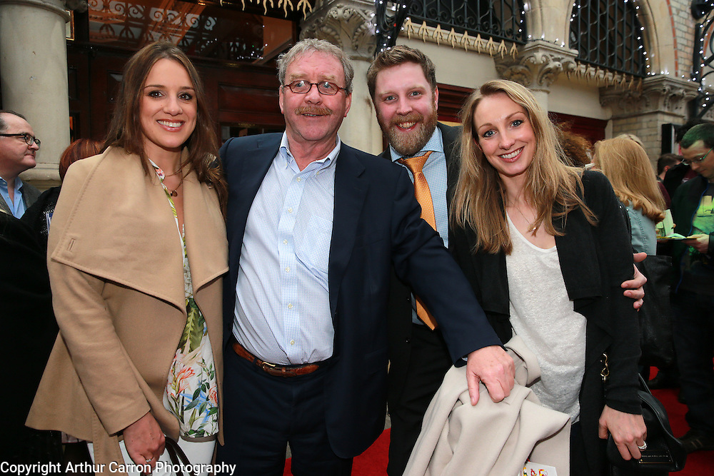 30/4/14 Michael Colgan with his daughters Sophie (left) and Sarah and son Richard at the opening night of Ross O'Carroll Kelly's Breaking Dad in the Gaiety Theatre, Dublin.Picture:Arthur Carron