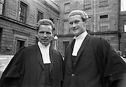 26/07/1967<br /> 07/26/1967<br /> 26 July 1967<br /> Calls to the Bar at the Four Courts, Dublin. Mr Daniel Finbarr Sullivan (left) of Kealkill, Bantry, Co. Cork and Mr. Cornelius Kehily, of Scrahane, Enniskeane, Co. Cork who were called to the Bar.
