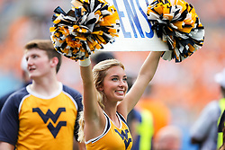 Sep 1, 2018; Charlotte, NC, USA; A West Virginia Mountaineers cheerleader performs during the second quarter against the Tennessee Volunteers at Bank of America Stadium. Mandatory Credit: Ben Queen-USA TODAY Sports