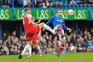 Fleetwood Town Defender, Ashley Eastham (5) and Portsmouth Forward, Brett Pitman (8) during the EFL Sky Bet League 1 match between Portsmouth and Fleetwood Town at Fratton Park, Portsmouth, England on 16 September 2017. Photo by Adam Rivers.