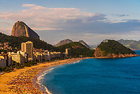 High angle view of Copacabana Beach, with Sugarloaf Mountain behind, Rio de Janeiro, Brazil.