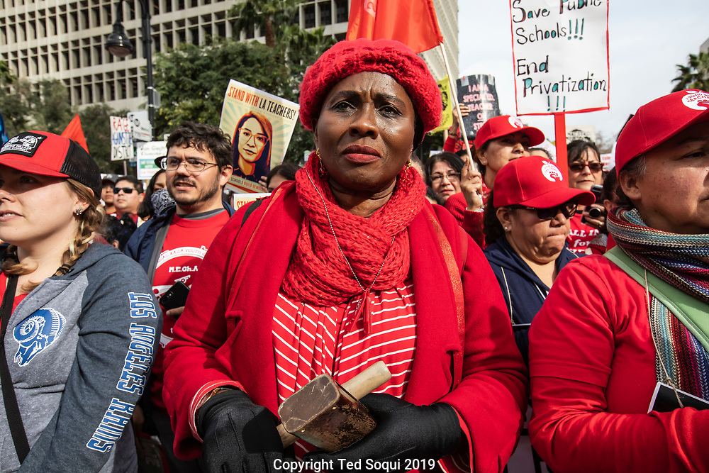 Sixty-thousand UTLA school teachers demonstrate in front of L.A. City Hall. This is day 5 of their city wide strike.