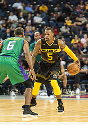 July 6, 2018 - Oakland, CA, U.S. - OAKLAND, CA - JULY 06: Stephen Jackson (5) co-captain of the Killer 3s prepares to move into the paint during game 4 in week three of the BIG3 3-on-3 basketball league on Friday, July 6, 2018 at the Oracle Arena in Oakland, CA (Photo by Douglas Stringer/Icon Sportswire) (Credit Image: © Douglas Stringer/Icon SMI via ZUMA Press)