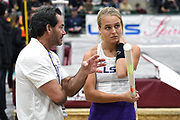 Women's elite winner Lisa Gunnarsson of LSU (right) tlaks with coach Greg Duplantis during the National Pole Vault Summit, Friday, Jan. 17, 2020, in Reno, Nev.