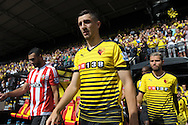 Miguel Angel Britos of Watford walking out to the pitch from the tunnel before k/o. Barclays Premier League, Watford v Southampton at Vicarage Road in London on Sunday 23rd August 2015.<br /> pic by John Patrick Fletcher, Andrew Orchard sports photography.
