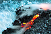 Colorful Flowing Lava Meets the Ocean